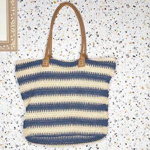 Straw Studio blue stripped shoulder bag